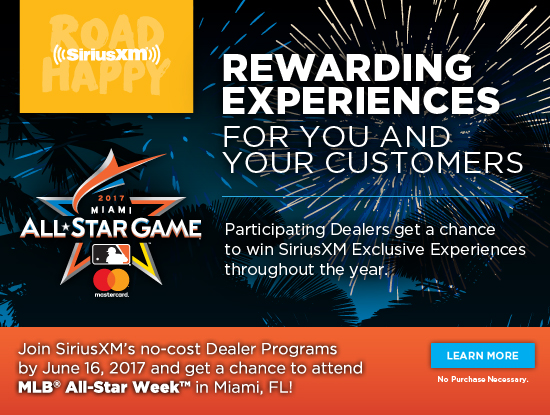 Rewarding Experiences for you and your customers. Join SiriusXM's no-cost Dealer Programs by June 16, 2017 and get a chance to attend MLB® All-Star Week™ in Miami, FL! No Purchase Necessary. Learn More.