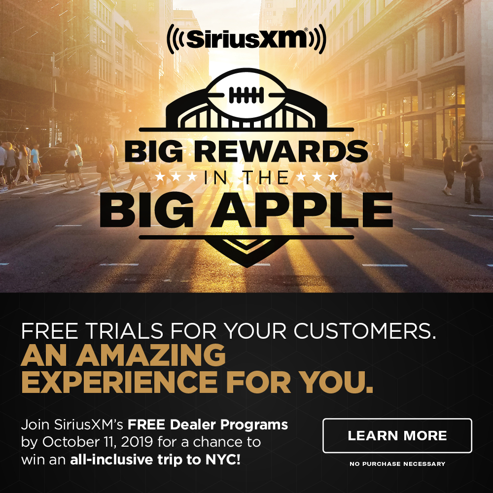 Join SiriusXM's FREE Dealer Programs by October 11, 2019 for a chance to win an all-inclusive trip to NYC!
